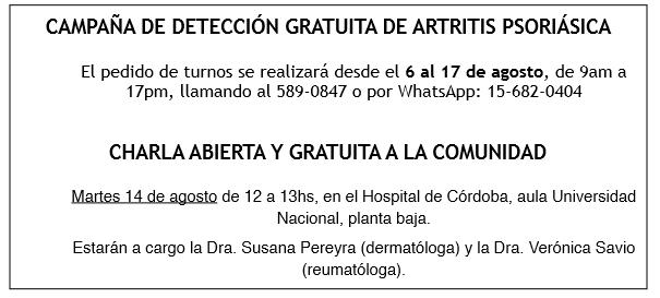 Campaña de Detección Gratuita de Psoriasis Artritis Psoriásica