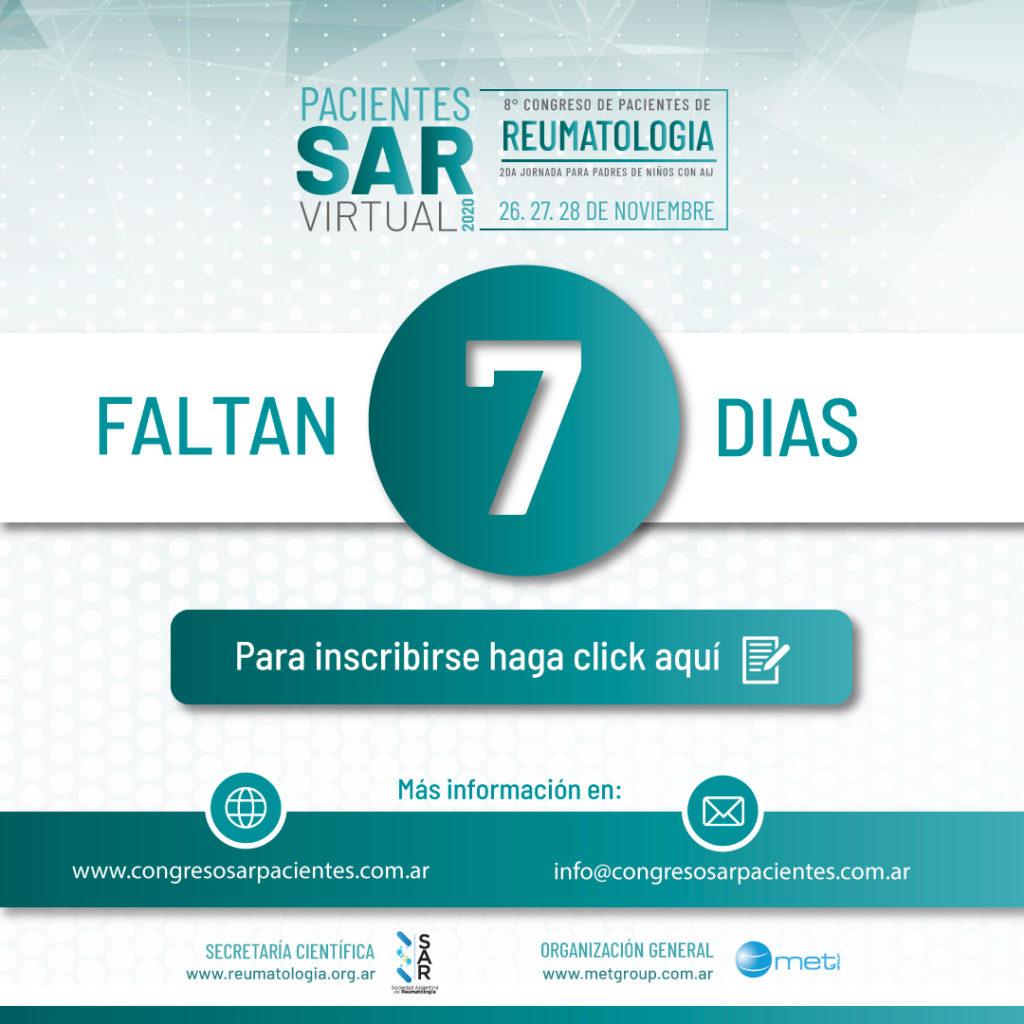Congreso de Pacientes, Faltan 7 días ¡¡INSCRIBITE JUNTO A TU FAMILIA!!