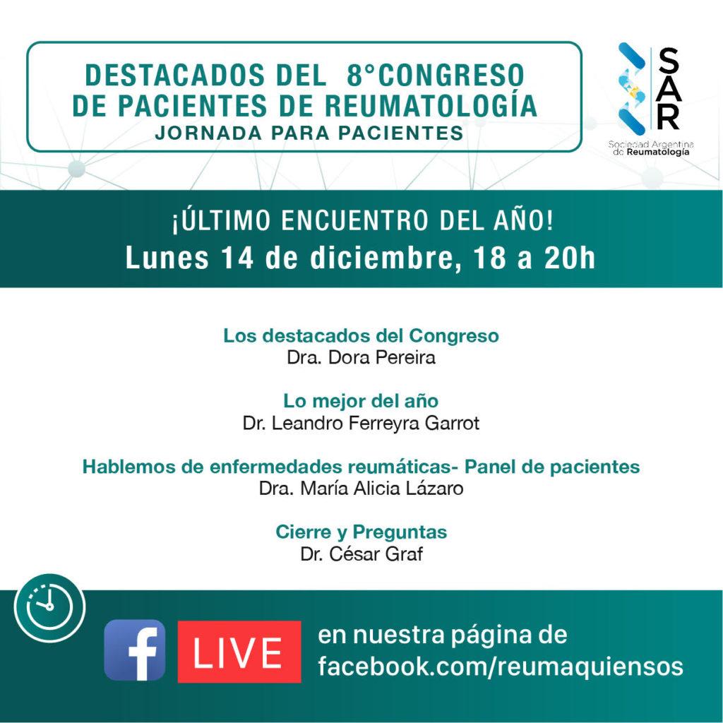 Destacados del 8º Congreso de Pacientes de Reumatología – Facebook Live
